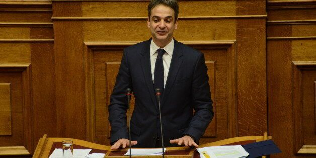 GREEK PARLIAMENT, ATHENS, GREECE - 2016/01/26: Kyriakos Mitsotakis, leader of New Democracy Party, during...