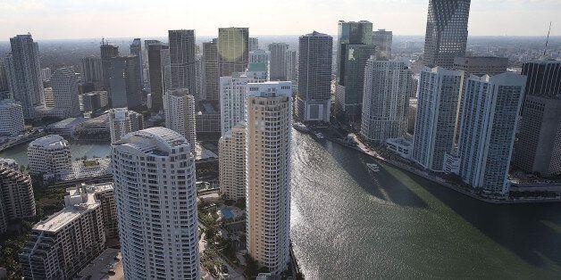 MIAMI, FL - APRIL 05: Condo buildings are seen April 5, 2016 in Miami, Florida. A report by the International...