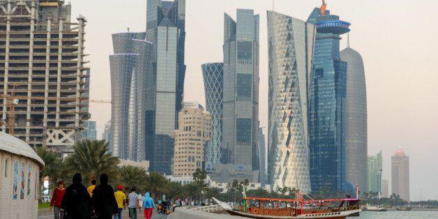 DOHA, QATAR - JANUARY 24: Views of the skyscraper skyline in Doha City, on the Corniche in Doha Bay....