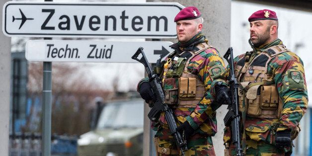 Belgian Army soldiers patrol at Zaventem Airport in Brussels on Wednesday, March 23, 2016. Belgian authorities...