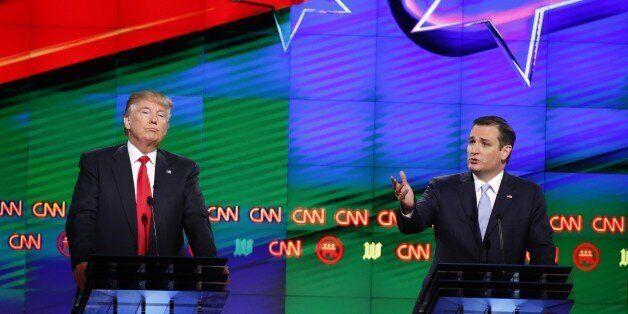 Republican presidential candidate, Sen. Ted Cruz, R-Texas, speaks, as Republican presidential candidate,...