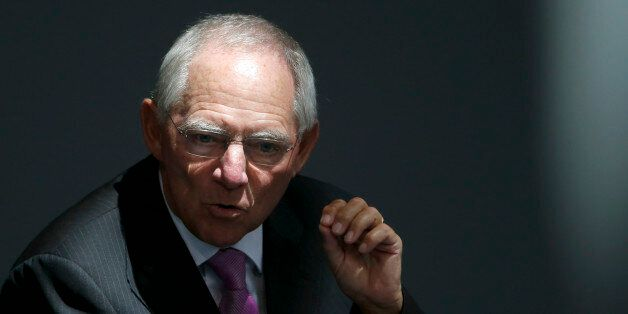 German Finance Minister Wolfgang Schaueble addresses the Bundestag, the lower house of parliament, in...