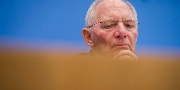 German finance minister Wolfgang Schaeuble speaks during a press conference on the 2017's budget in Berlin...