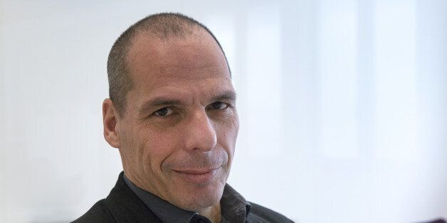 Yanis Varoufakis, former Greek finance minister, poses for a photograph following a Bloomberg Television...