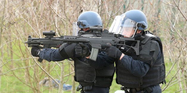 French gendarme take part in a demonstration on April 1, 2016 at the police headquarters in Reims, eastern...