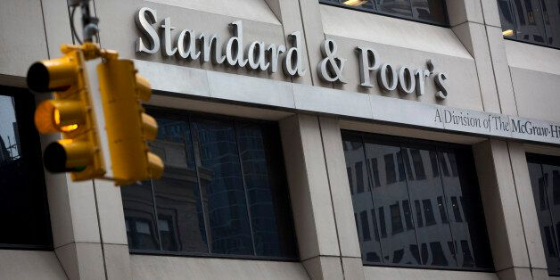 The Standard & Poor's logo is displayed at the company's headquarters in New York, U.S., on Tuesday,...