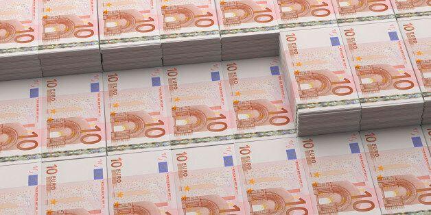 Stacks of 10 Euro