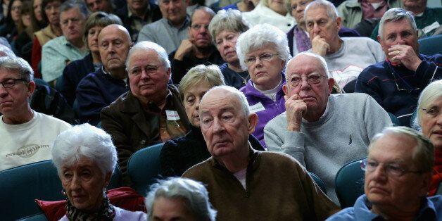OKATIE, SC - FEBRUARY 11: Senior citizens listen to Republican presidential candidate Sen. Marco Rubio...