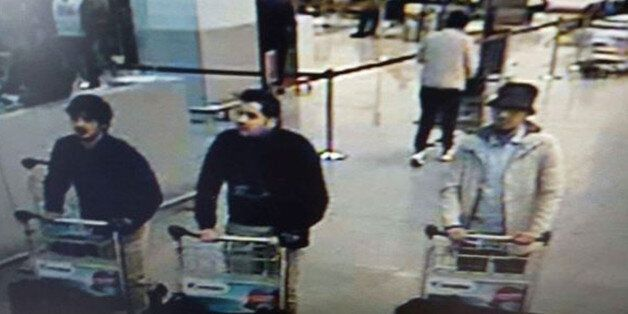 In this image provided by the Belgian Federal Police in Brussels on Tuesday, March 22, 2016 of three...