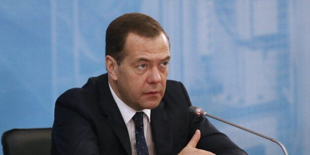 MOSCOW REGION, RUSSIA. MARCH 15, 2016. Russia's prime minister Dmitry Medvedev at a meeting of senior...
