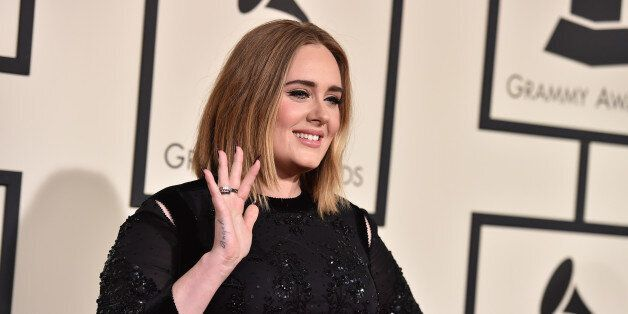 Adele arrives at the 58th annual Grammy Awards at the Staples Center on Monday, Feb. 15, 2016, in Los...