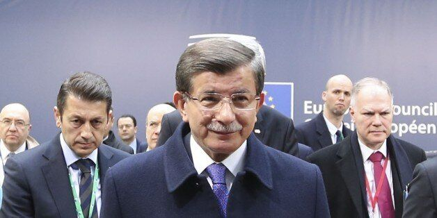 BRUSSELS, BELGUM - MARCH 18: Prime Minister of Turkey Ahmet Davutoglu delivers a speech during a press...
