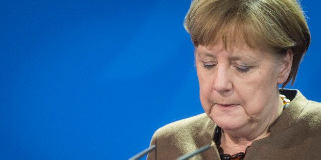 BERLIN, GERMANY - MARCH 22: German Chancellor Angela Merkel speaks to the media on March 22, 2016 in...
