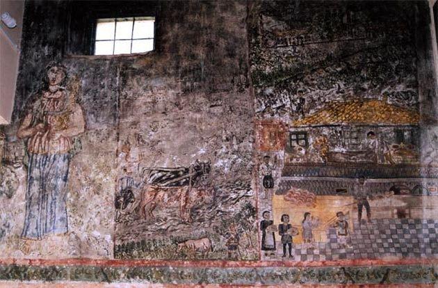 Καταστρέφεται μέρα με τη μέρα υπέροχη τοιχογραφία του Θεόφιλου στον Μεσαγρό της