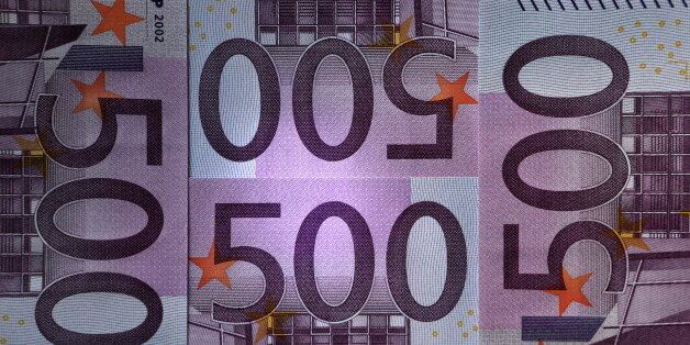 ST. PETERSBURG, RUSSIA. FEBRUARY 17, 2016. 500-euro banknotes. Alexander Demianchuk/TASS (Photo by Alexander...