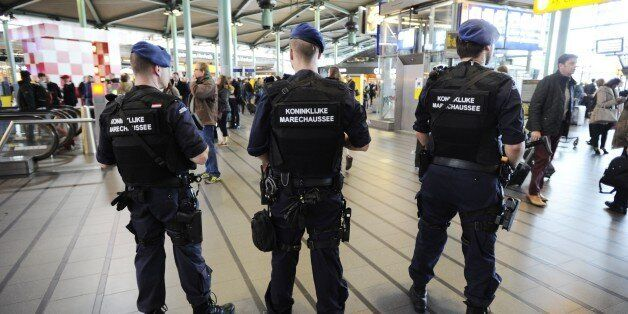 The military police carries extra patrols at Schiphol Airport in Amsterdam, on March 22, 2016 in response...