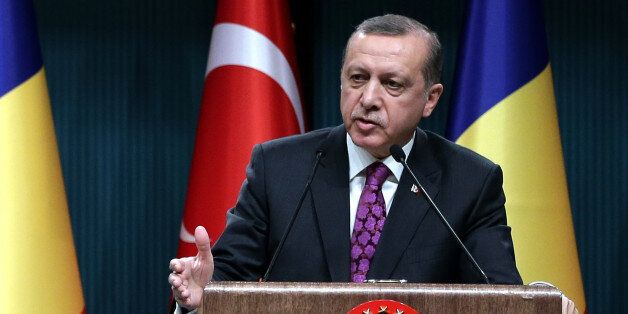 Turkey's President Recep Tayyip Erdogan speaks during a news conference in Ankara, Turkey, Wednesday,...