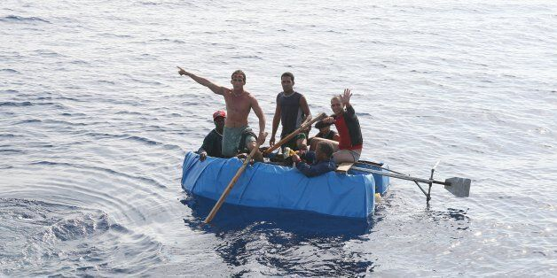 ATLANTIC OCEAN - JULY 2007: Cubans 30 miles off the coast of the United States try to reach Florida in...