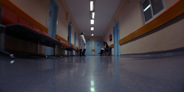 Antigoni Mitsi (Sidestep) waiting at the cytological department of Genimata Hospital for a radiograph[slightly
