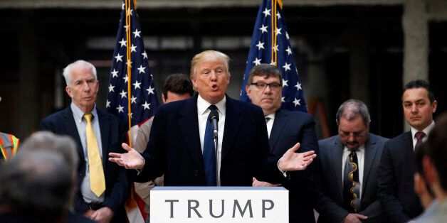 Republican presidential candidate Donald Trump speaks during a campaign event in the atrium of the Old...