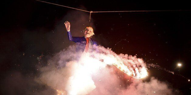 Mexican's set fire to an effigy of US Republican presidential candidate Donald Trump on March 26, 2016...