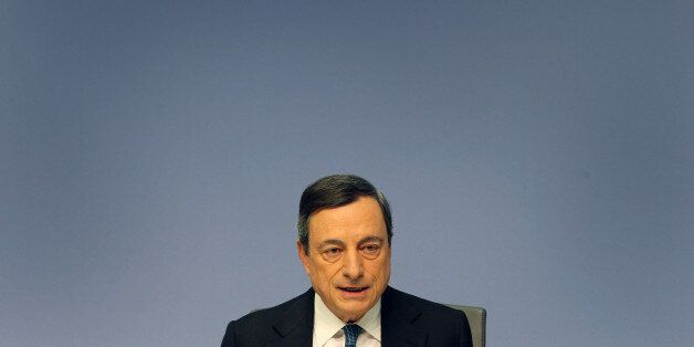 Mario Draghi, President of the European Central Bank (ECB), addresses the media during a press conference...