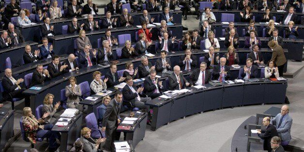 BERLIN, GERMANY - FEBRUARY 25: A view of a debate over asylum proposal at the Bundestag in Berlin, Germany...