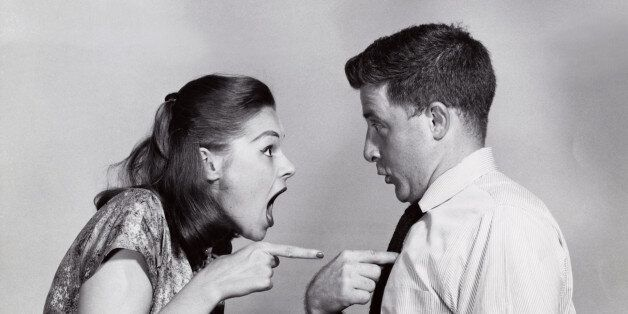 Angry, arguing, point, gesturing, blaming, confront, indoors, couple, Caucasian, gesture, accusing, confronting, argue, confrontation, pointing, accuse, emotions, eras, 1940s-1950s, moods, blame, people, young adult couples