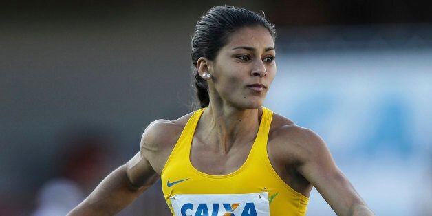 SAO PAULO, BRAZIL - JUNE 28: Ana Claudia Lemos Silva (#471), competes in the Womens 100 meters during...