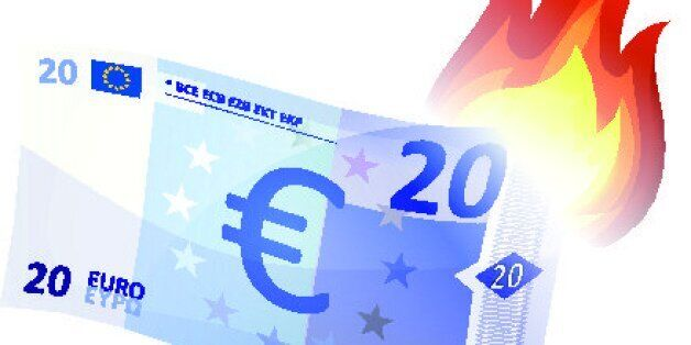 Vector illustration of a cartoon euro bill burning, symbolizing crash of european economy area, debt...