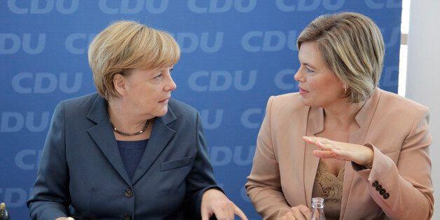 (GERMANY OUT) Berlin, Konrad-Adenauer- Haus, CDU Bundesvorstandssitzung, Foto: Bundeskanzleri Angela...