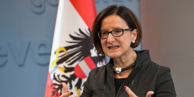 Austrian Interior minister Johanna Mikl-Leitner makes a point during a press conference during her visit...