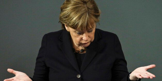 German Chancellor Angela Merkel delivers a speech about refugee policy and Europe a day before an EU...