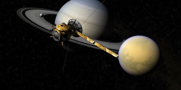 Cassini moving over Titan, Enceladus and Saturn. Rendered with Autodesk Maya, composited in Adobe Photoshop.Cassini...