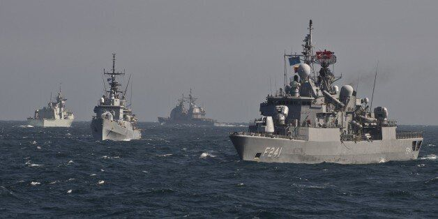 War ships of the NATO Standing Maritime Group-2 take part in a military drill on the Black Sea, 60km...