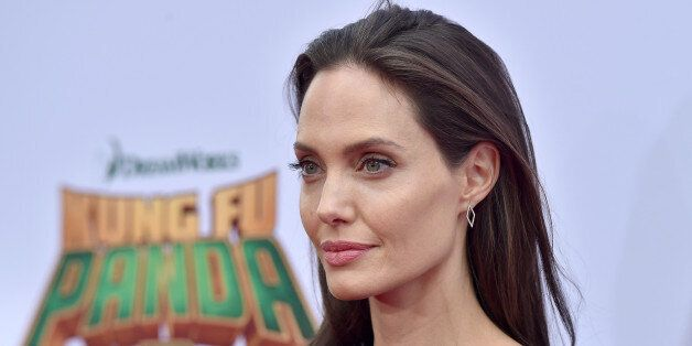 HOLLYWOOD, CA - JANUARY 16: Actress Angelina Jolie arrives at the premiere of 20th Century Fox's 'Kung...