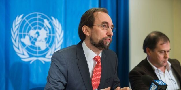 United Nations High Commissioner for Human Rights Zeid Ra'ad Al Hussein (L) speaks during a press conference...