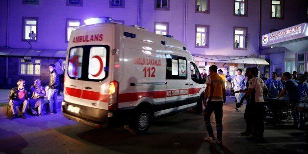 ANKARA, TURKEY - MARCH 13: An ambulance arrives at the Ankara Numune Hospital after an explosion hit...