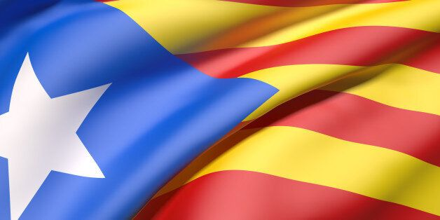 3d rendering of a catalonia flag