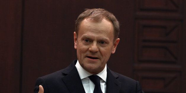 European Council President Donald Tusk speaks to the media during a joint press conference with Turkish...