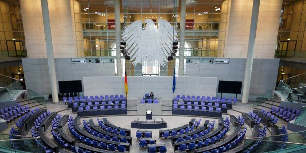 BERLIN, GERMANY - DECEMBER 16: An overview shows the empty German Parliament (Bundestag) on December...