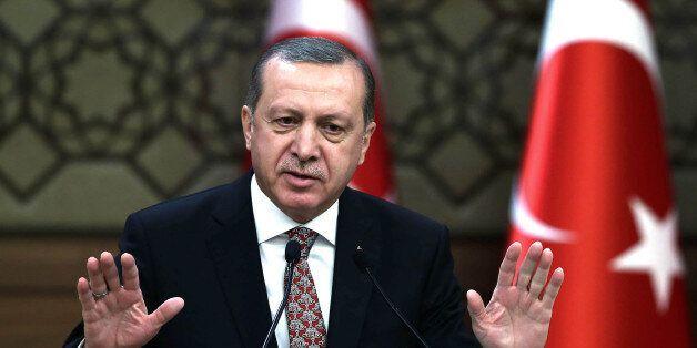 FILE - In this Wednesday, Feb. 10, 2016 file photo, Turkish President Recep Tayyip Erdogan addresses...