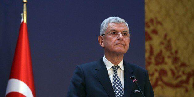 ANKARA, TURKEY - JANUARY 25: Turkey's EU Minister Volkan Bozkir holds a press conference at the end of...