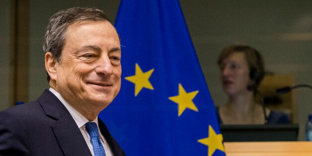 FILE - In this Nov. 12, 2015 file photo the President of the European Central Bank Mario Draghi arrives...