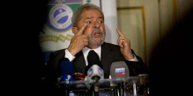 Brazil's former President Luiz Inacio Lula da Silva speaks during a press conference, after a meeting...