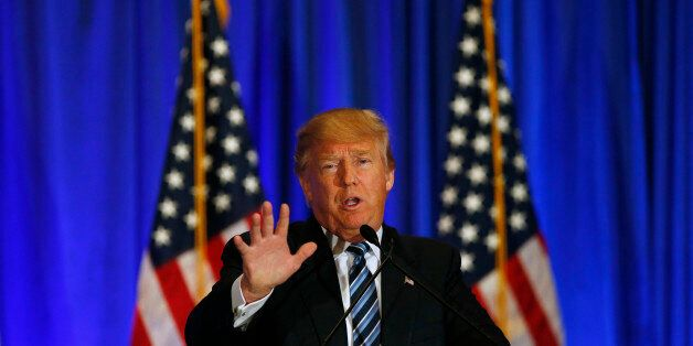 Republican presidential candidate Donald Trump speaks during a news conference Saturday, March 5, 2016,...