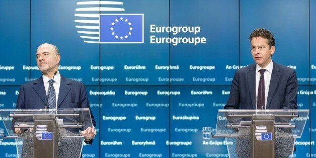 EU Economic and Financial Affairs, Taxation and Customs Commissioner Pierre Moscovici (L) and Eurogroup...