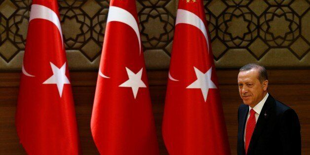 ANKARA, TURKEY - JANUARY 20: President of Turkey Recep Tayyip Erdogan walks towards the rostrum during...
