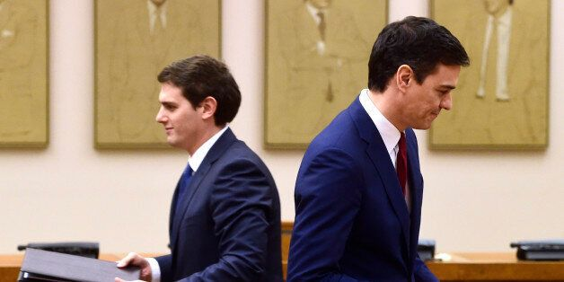 Leader of Spanish Socialist Party (PSOE) Pedro Sanchez (R) and leader of center-right party Ciudadanos,...