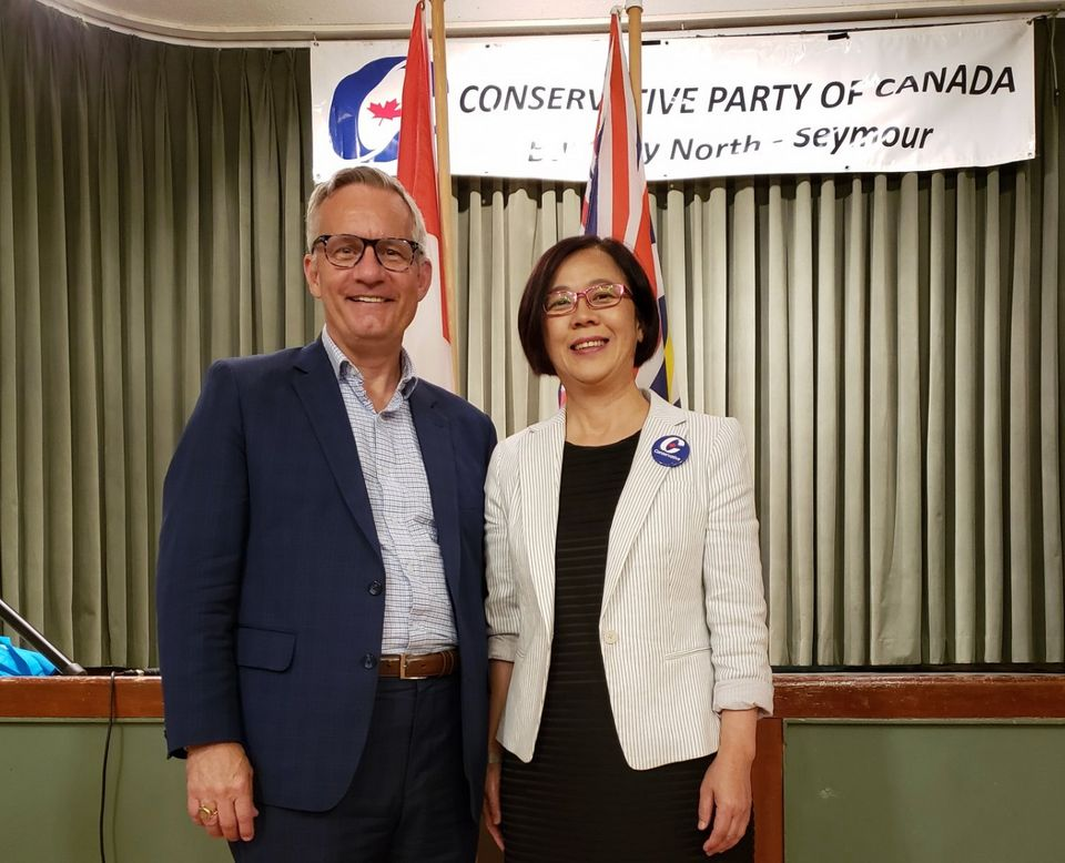 Heather Leung, the Conservative candidate in Burnaby North-Seymour, is seen with veteran B.C. MP Ed